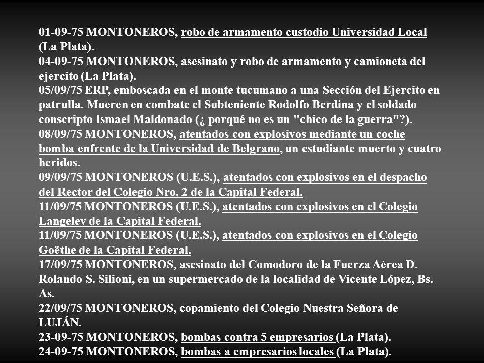 01-09-75 MONTONEROS, robo de armamento custodio Universidad Local (La Plata).