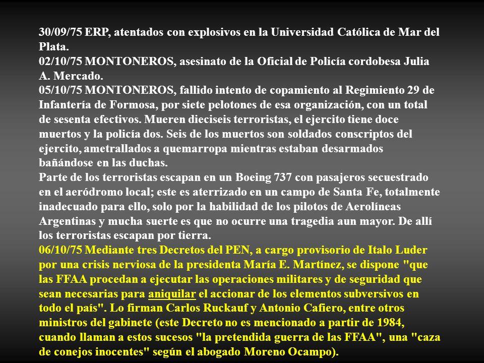 30/09/75 ERP, atentados con explosivos en la Universidad Católica de Mar del Plata.