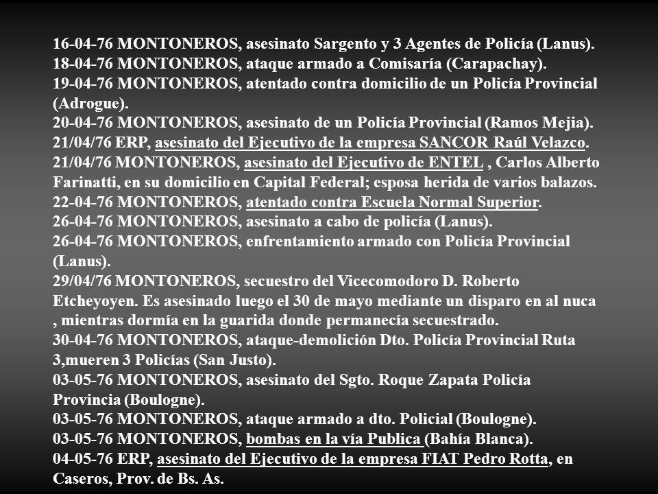 16-04-76 MONTONEROS, asesinato Sargento y 3 Agentes de Policía (Lanus).