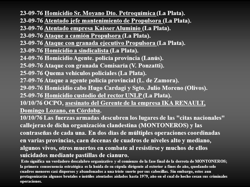 23-09-76 Homicidio Sr. Moyano Dto. Petroquímica (La Plata).