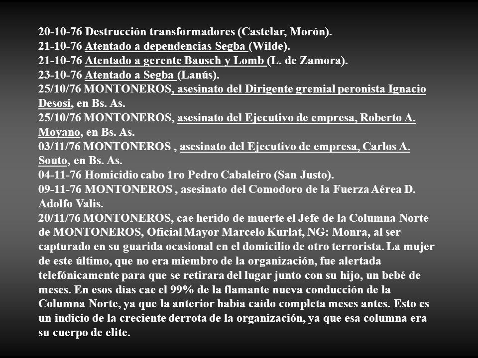 20-10-76 Destrucción transformadores (Castelar, Morón).