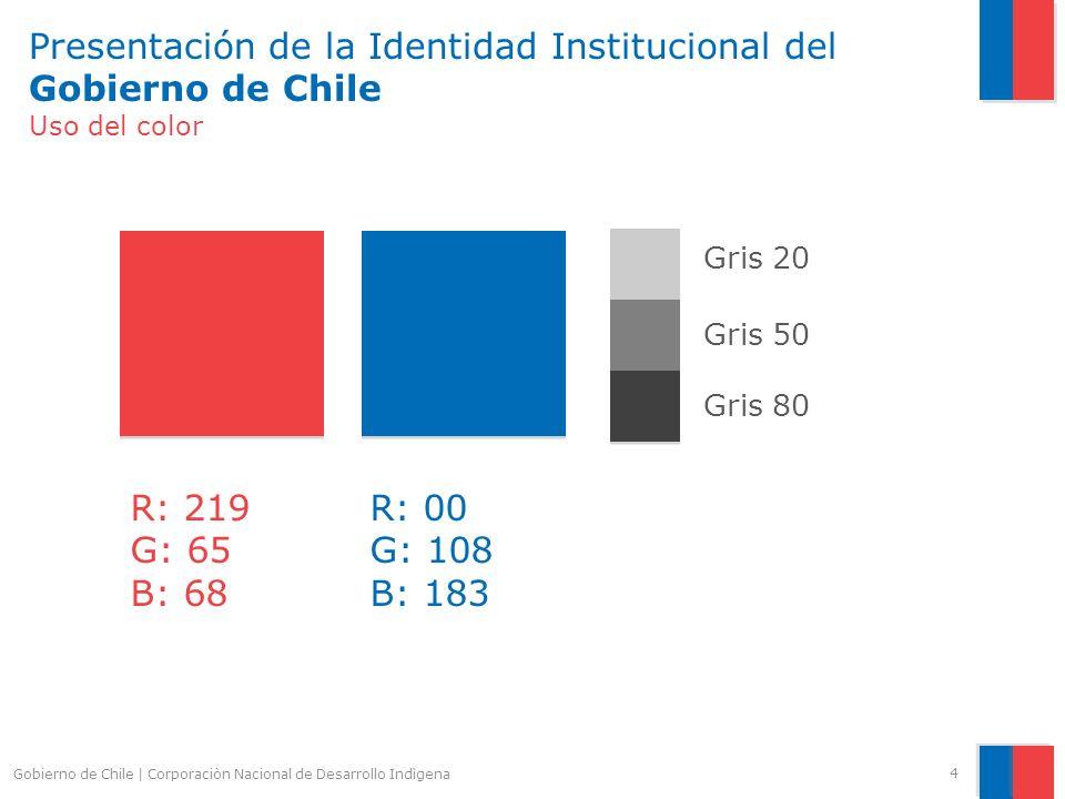 Presentación de la Identidad Institucional del Gobierno de Chile Uso del color