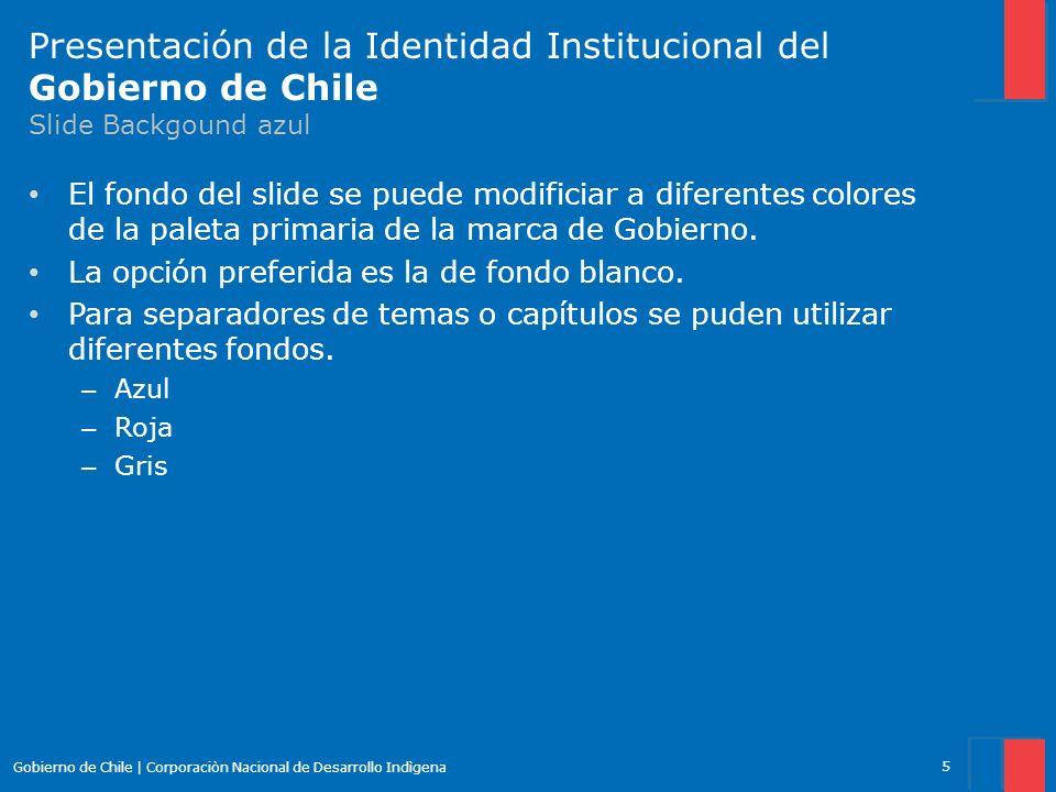 Presentación de la Identidad Institucional del Gobierno de Chile Slide Backgound azul