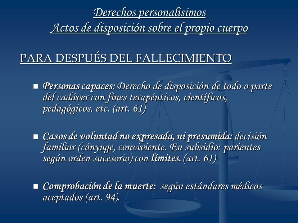 Derechos personalísimos Actos de disposición sobre el propio cuerpo