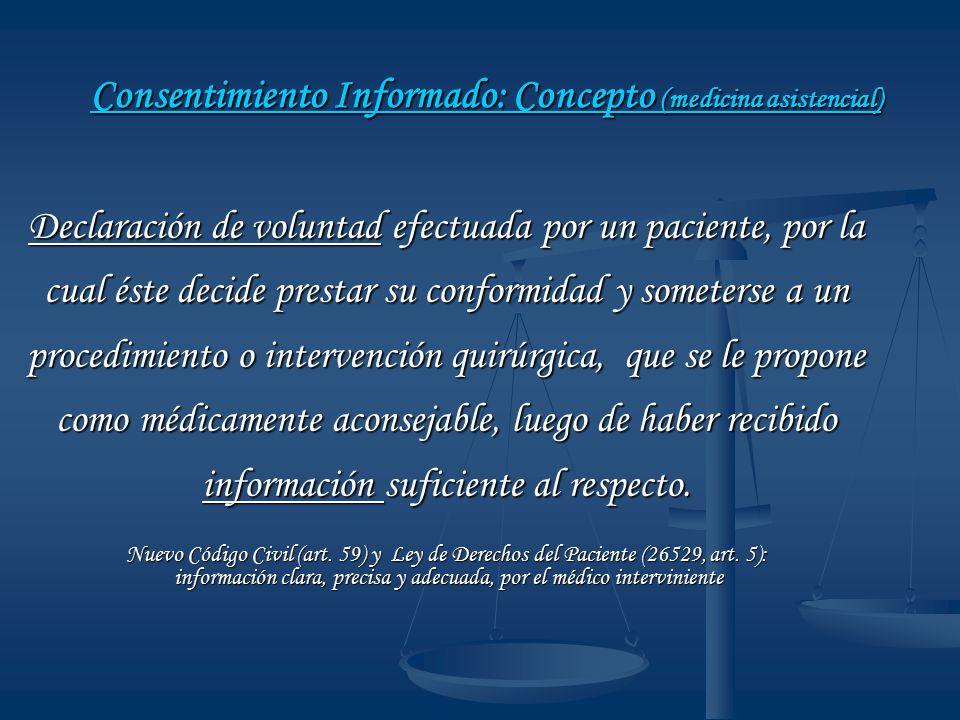 Consentimiento Informado: Concepto (medicina asistencial)