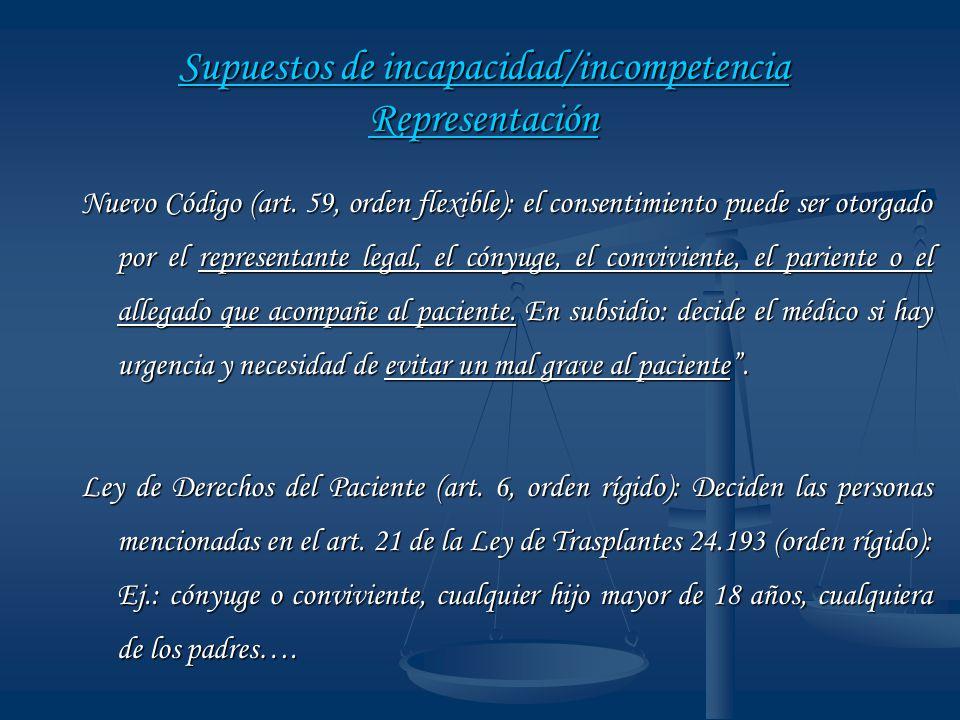 Supuestos de incapacidad/incompetencia Representación
