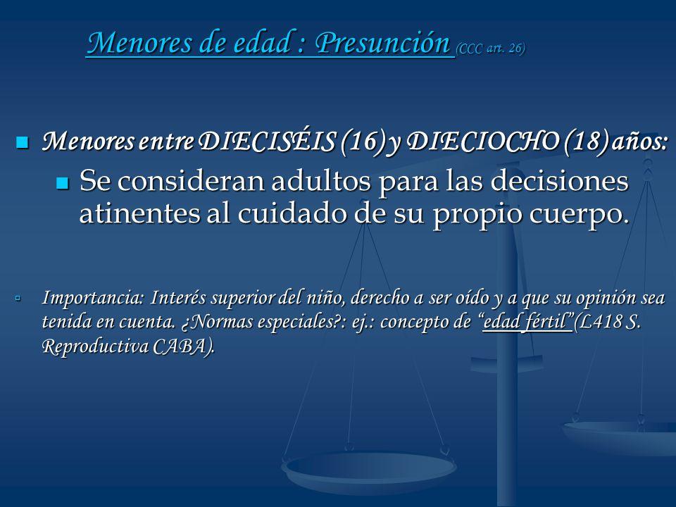 Menores de edad : Presunción (CCC art. 26)