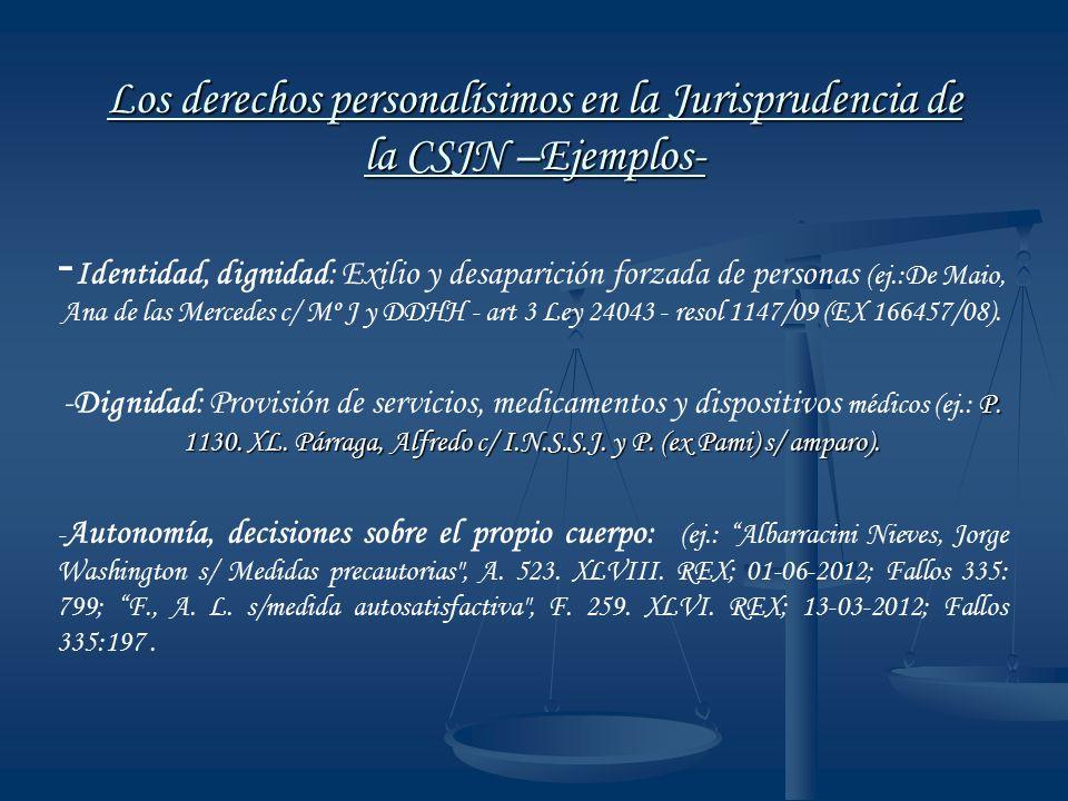 Los derechos personalísimos en la Jurisprudencia de la CSJN –Ejemplos-