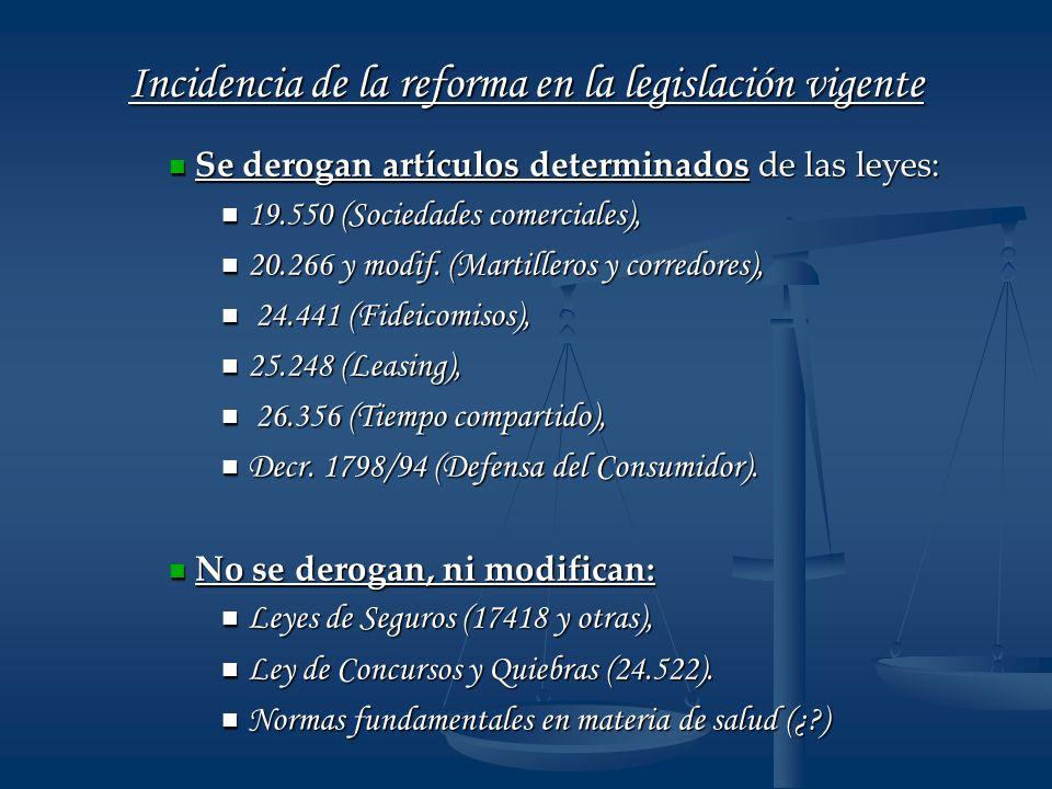 Incidencia de la reforma en la legislación vigente