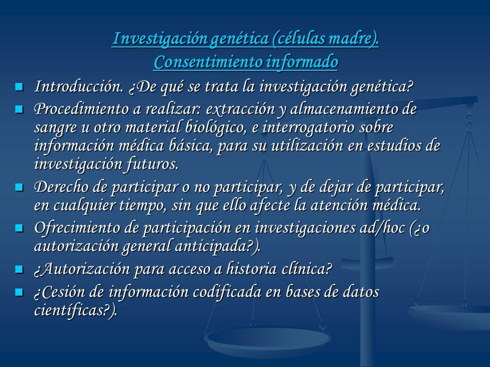 Investigación genética (células madre). Consentimiento informado