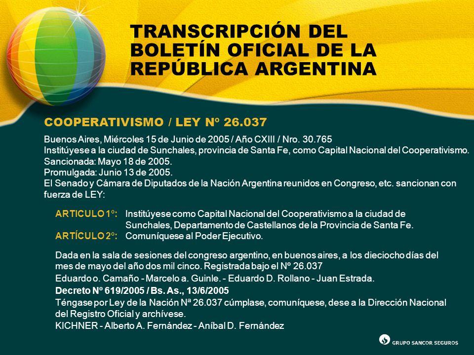 TRANSCRIPCIÓN DEL BOLETÍN OFICIAL DE LA REPÚBLICA ARGENTINA