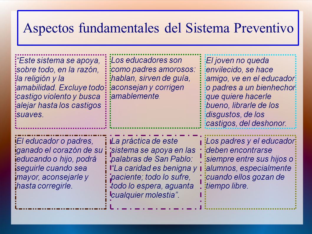 Aspectos fundamentales del Sistema Preventivo