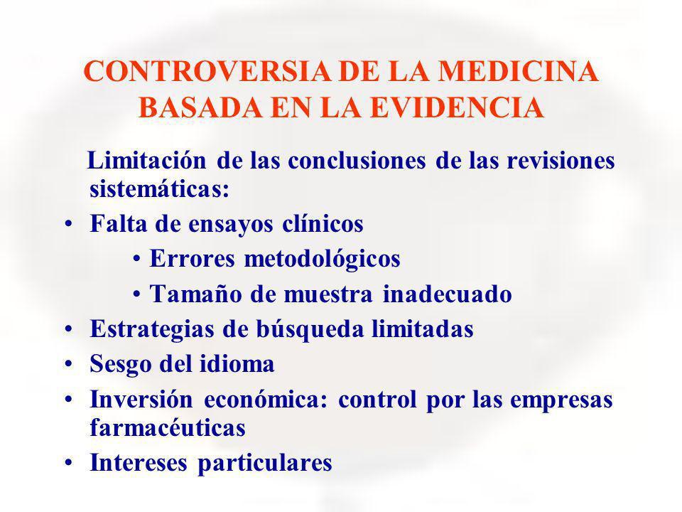 CONTROVERSIA DE LA MEDICINA BASADA EN LA EVIDENCIA