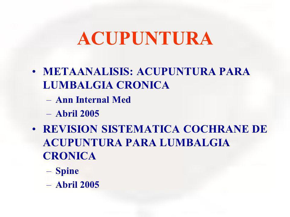 ACUPUNTURA METAANALISIS: ACUPUNTURA PARA LUMBALGIA CRONICA