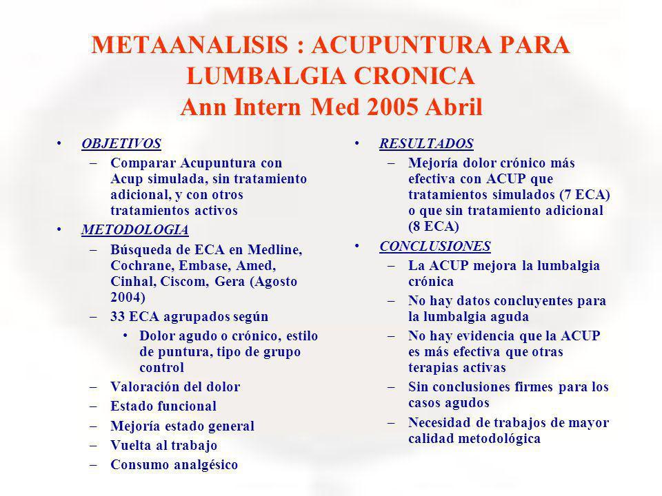 METAANALISIS : ACUPUNTURA PARA LUMBALGIA CRONICA Ann Intern Med 2005 Abril