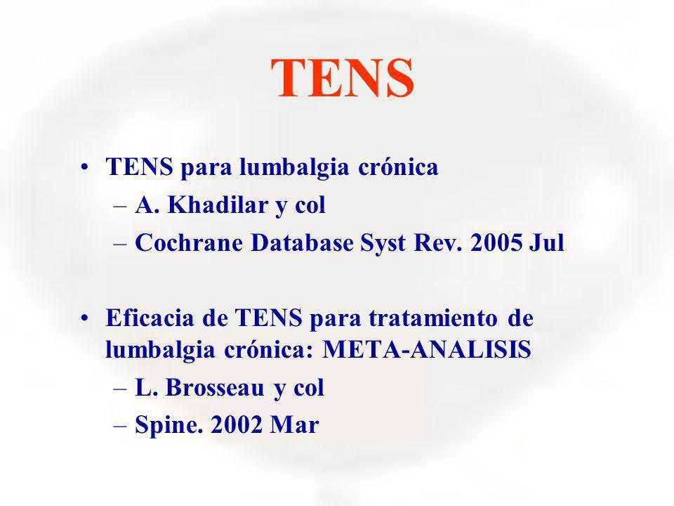 TENS TENS para lumbalgia crónica A. Khadilar y col