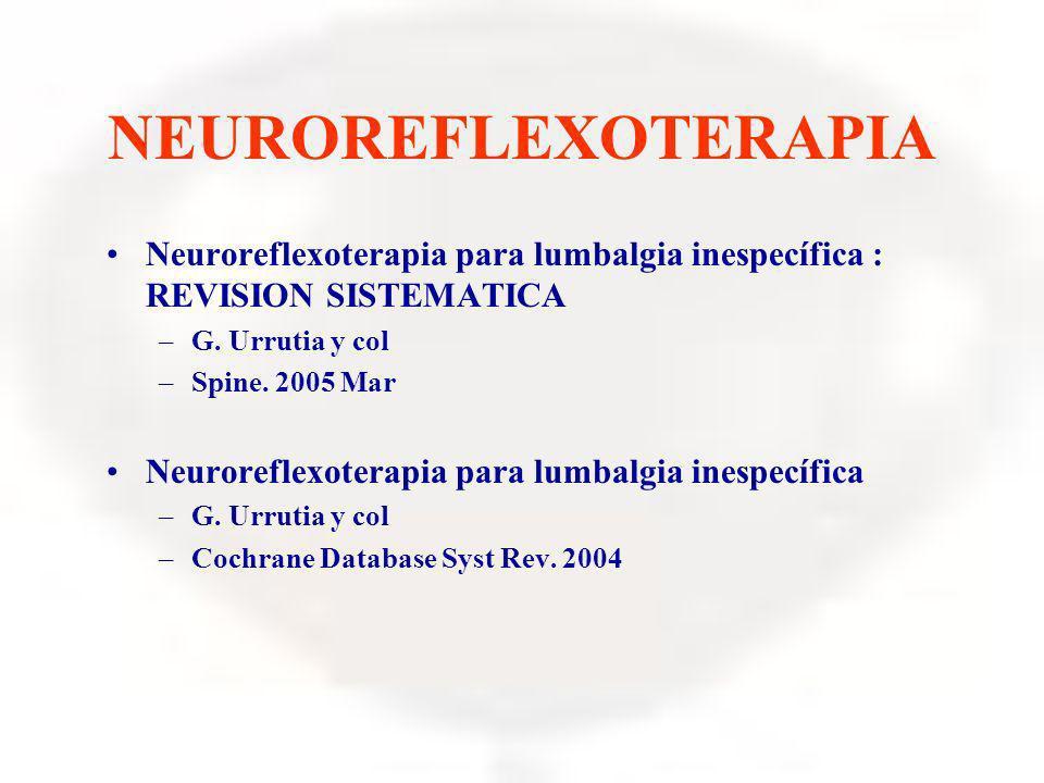 NEUROREFLEXOTERAPIA Neuroreflexoterapia para lumbalgia inespecífica : REVISION SISTEMATICA. G. Urrutia y col.
