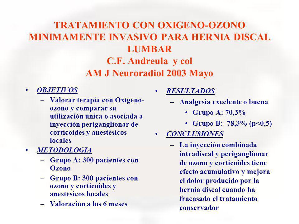 TRATAMIENTO CON OXIGENO-OZONO MINIMAMENTE INVASIVO PARA HERNIA DISCAL LUMBAR C.F. Andreula y col AM J Neuroradiol 2003 Mayo