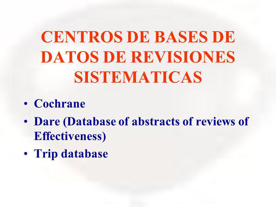 CENTROS DE BASES DE DATOS DE REVISIONES SISTEMATICAS