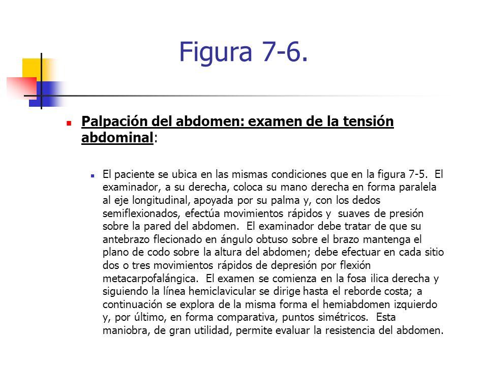 Figura 7-6. Palpación del abdomen: examen de la tensión abdominal: