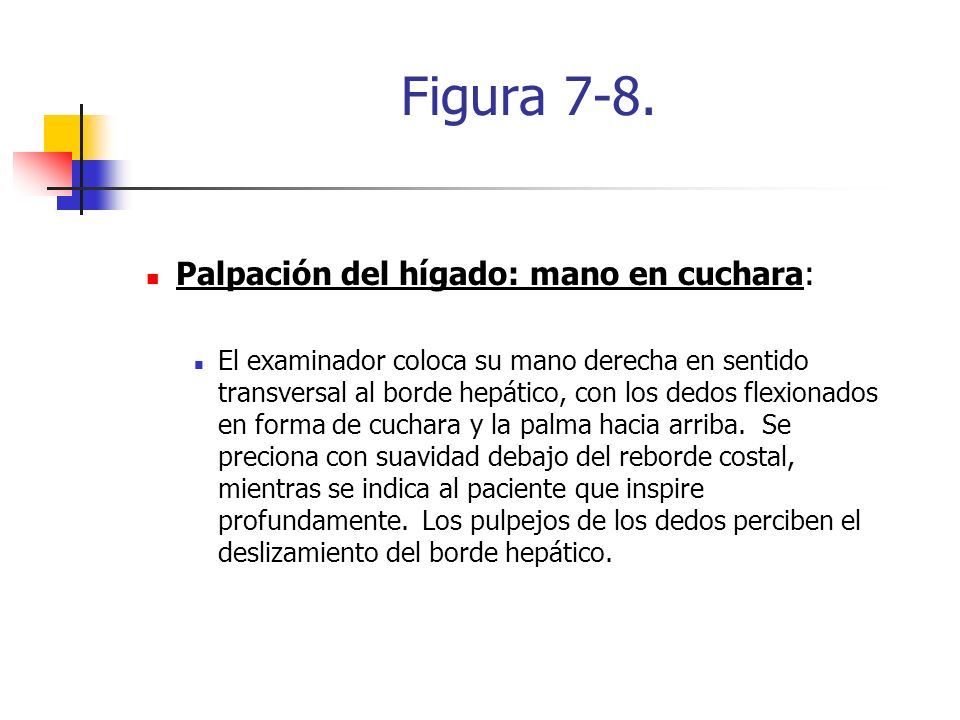 Figura 7-8. Palpación del hígado: mano en cuchara: