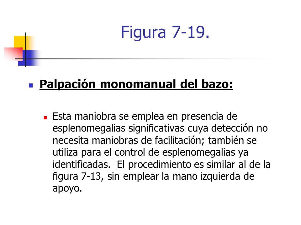 Figura 7-19. Palpación monomanual del bazo: