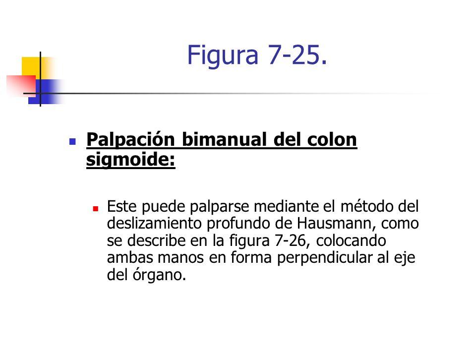 Figura 7-25. Palpación bimanual del colon sigmoide: