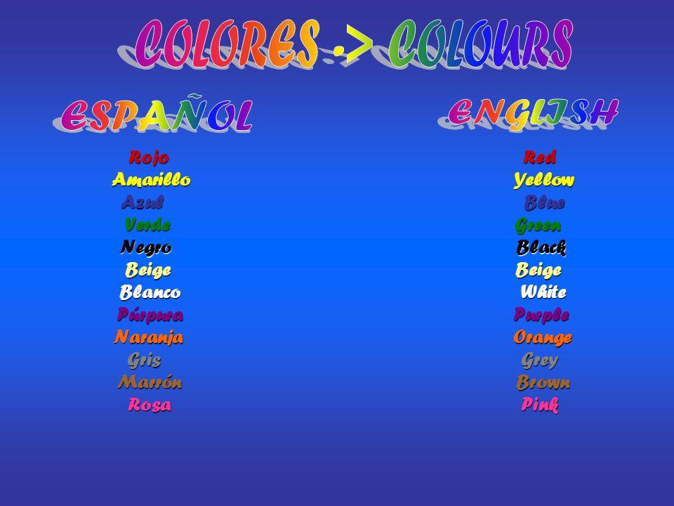 COLORES -> COLOURS ESPAÑOL ENGLISH