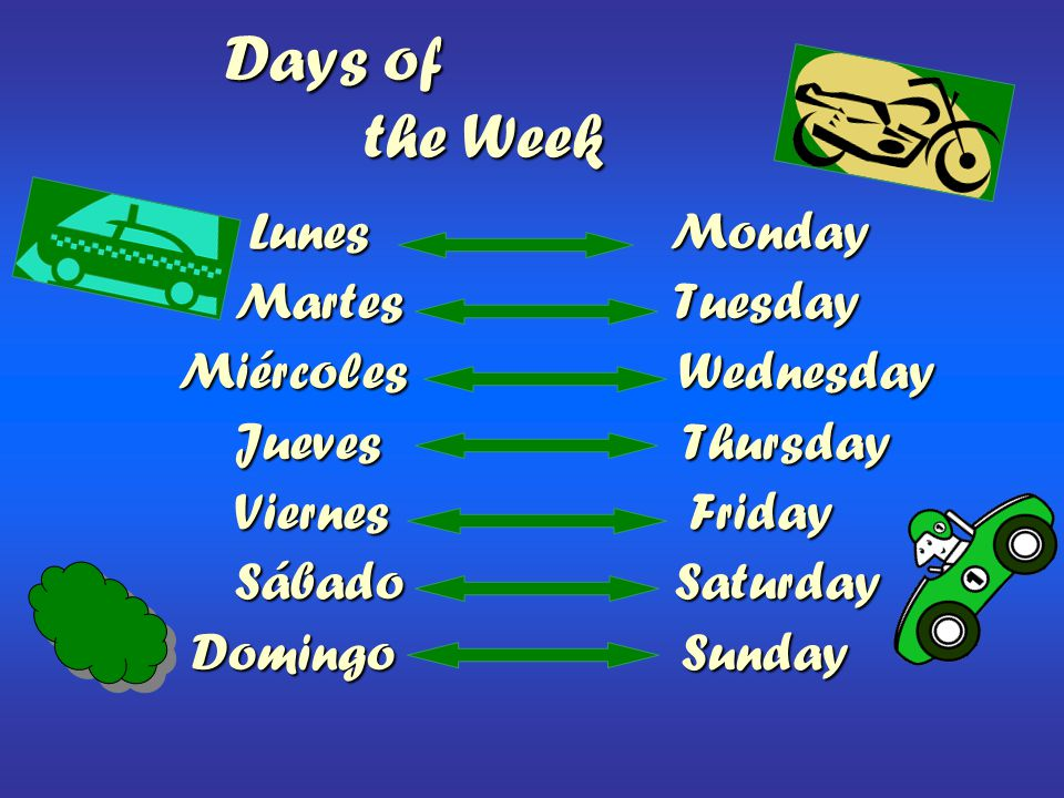Days of the Week Lunes Monday Martes Tuesday Miércoles Wednesday