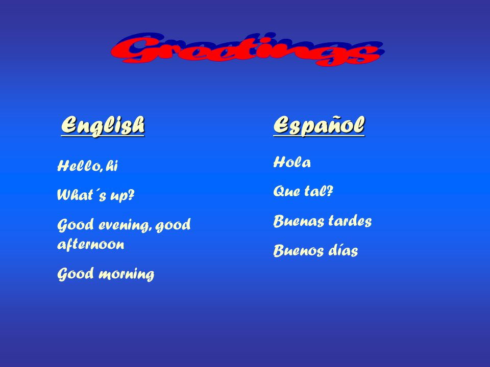 Greetings English Español Hola Hello, hi Que tal What´s up
