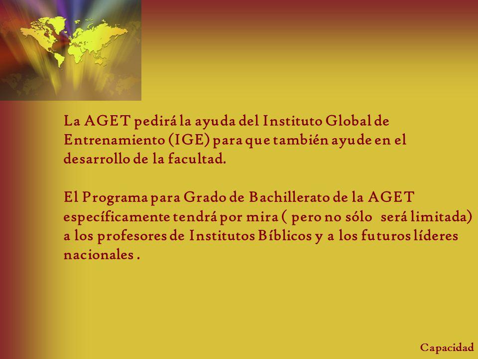 La AGET pedirá la ayuda del Instituto Global de Entrenamiento (IGE) para que también ayude en el desarrollo de la facultad.