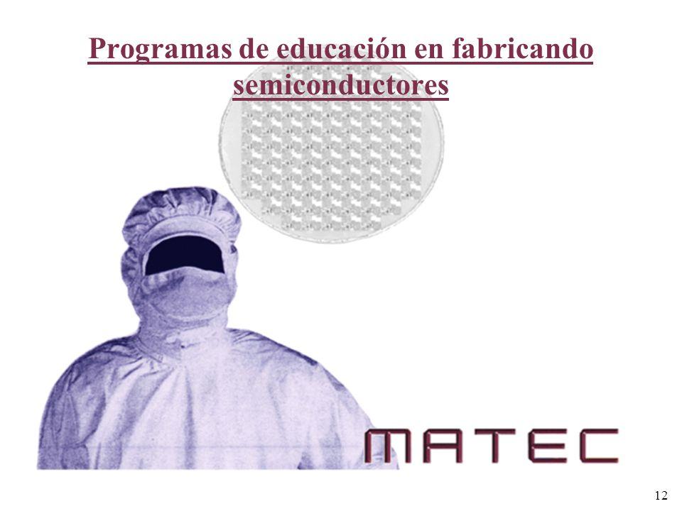 Programas de educación en fabricando semiconductores