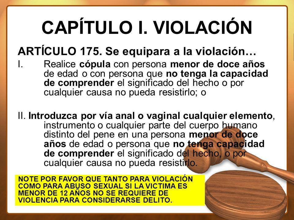 CAPÍTULO I. VIOLACIÓN ARTÍCULO 175. Se equipara a la violación…