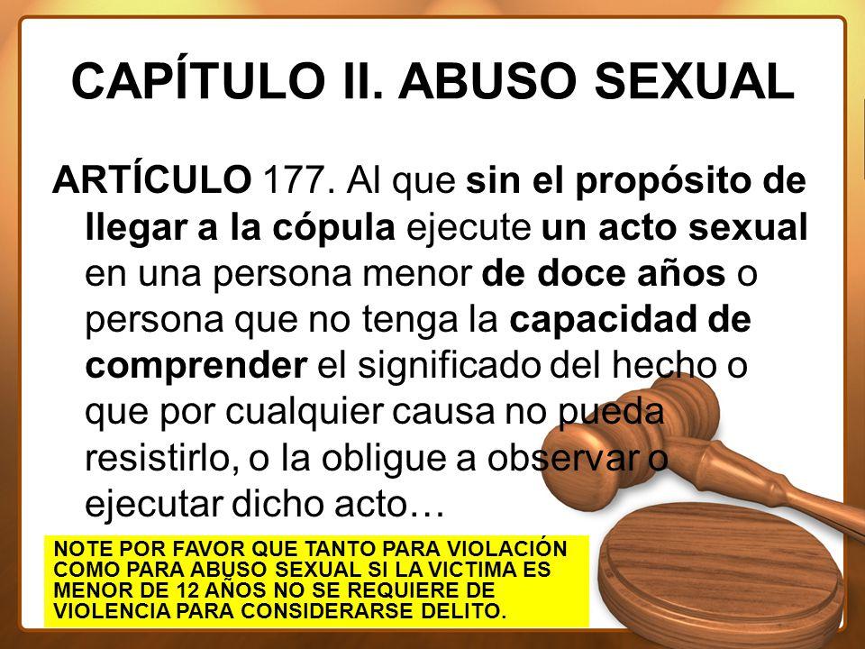 CAPÍTULO II. ABUSO SEXUAL