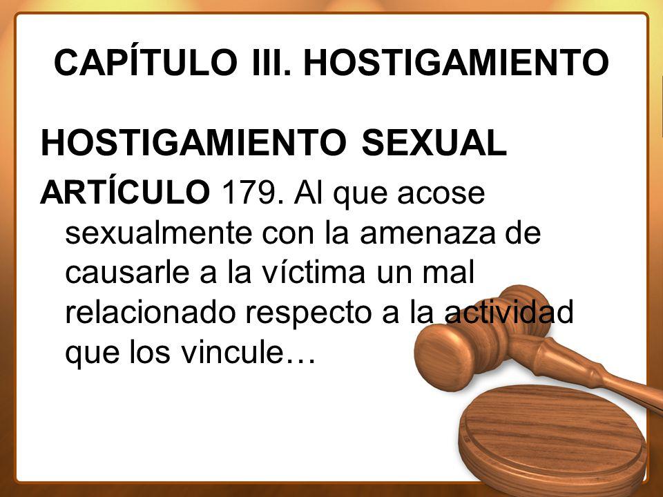 CAPÍTULO III. HOSTIGAMIENTO