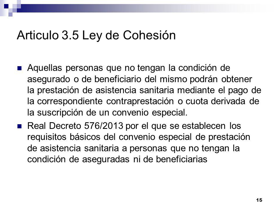 Articulo 3.5 Ley de Cohesión