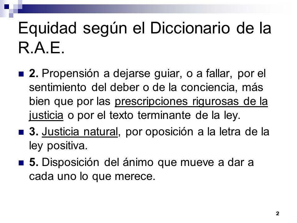 Equidad según el Diccionario de la R.A.E.