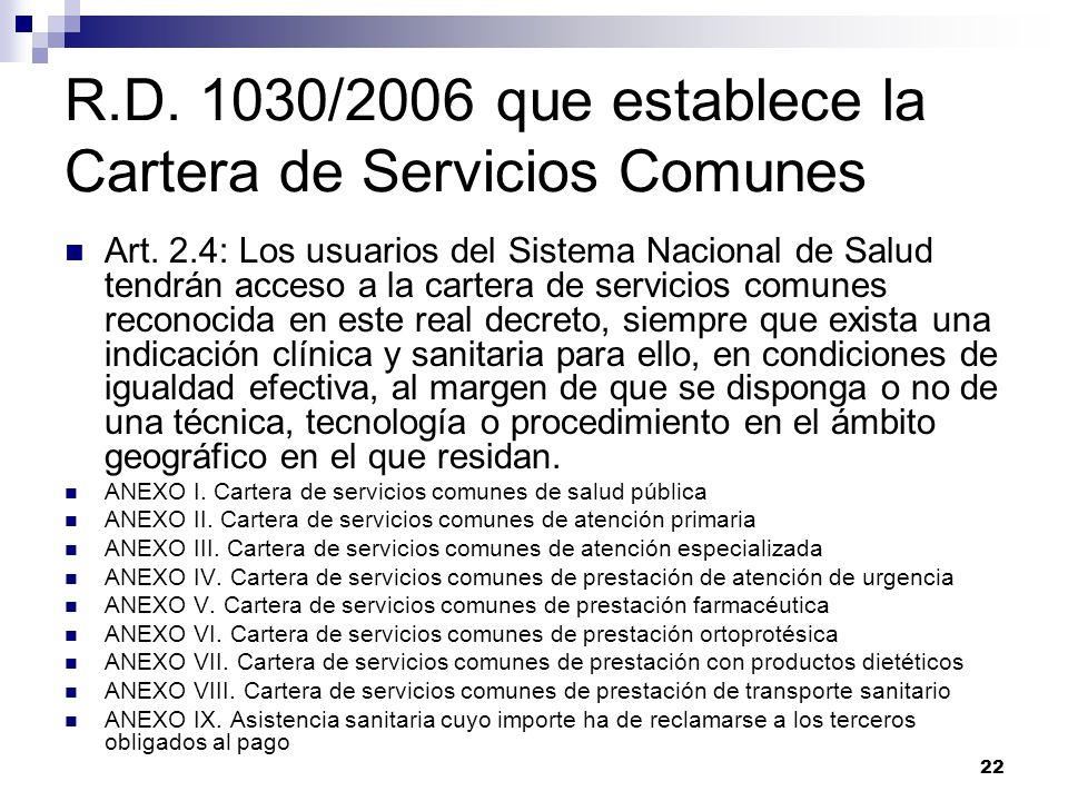 R.D. 1030/2006 que establece la Cartera de Servicios Comunes