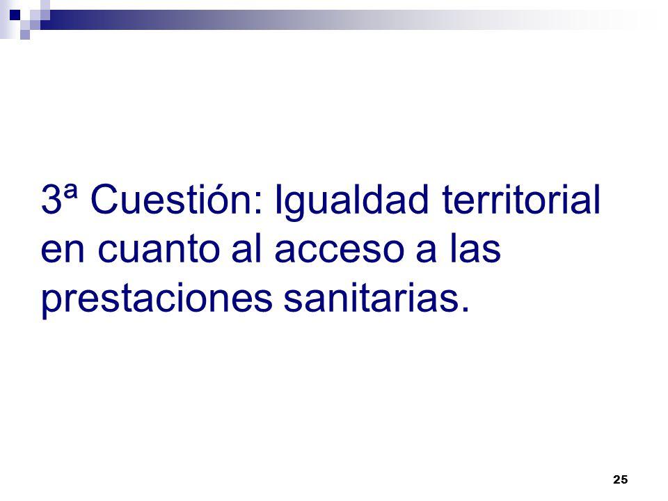 3ª Cuestión: Igualdad territorial en cuanto al acceso a las prestaciones sanitarias.