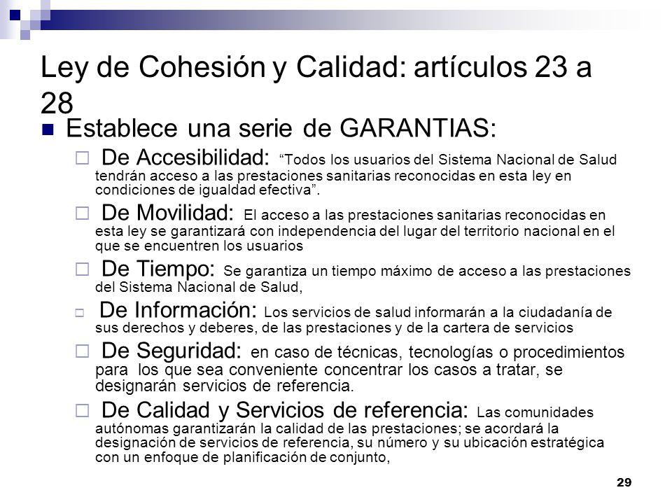 Ley de Cohesión y Calidad: artículos 23 a 28
