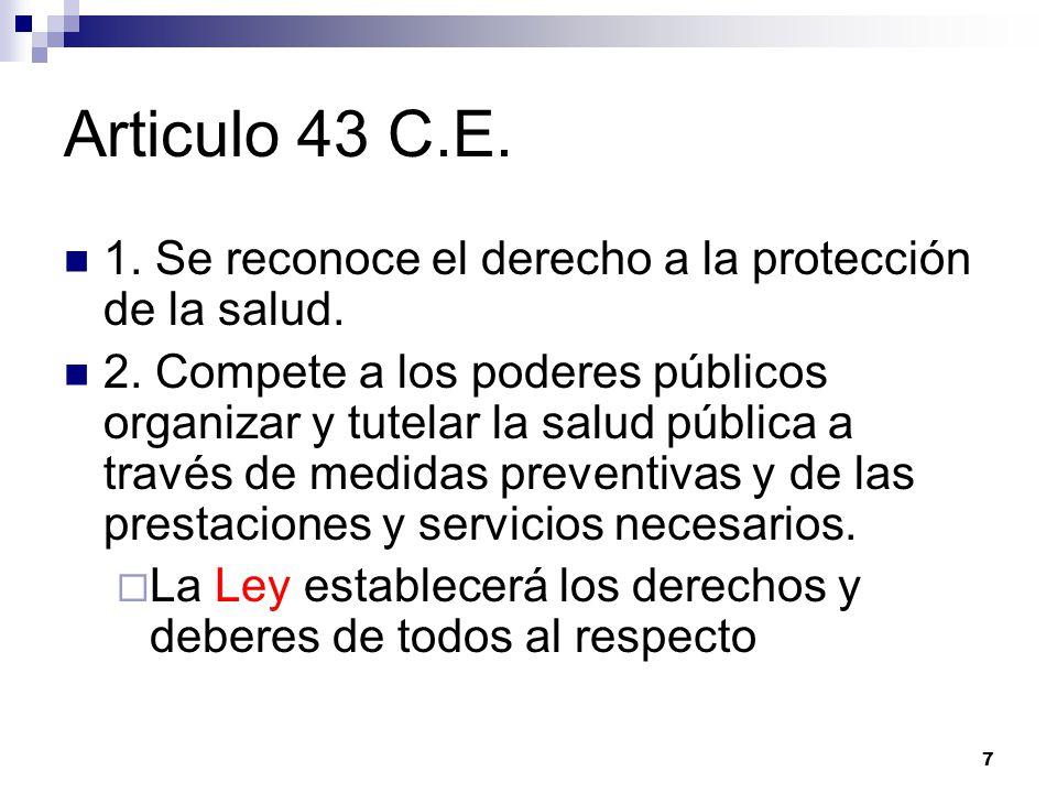 Articulo 43 C.E. 1. Se reconoce el derecho a la protección de la salud.