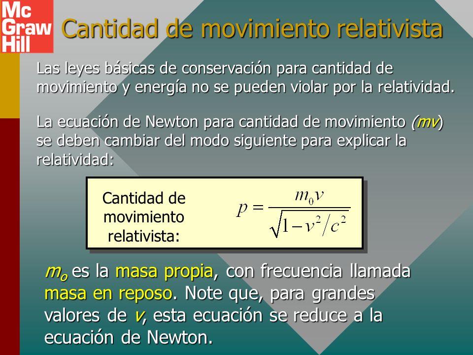 Cantidad de movimiento relativista