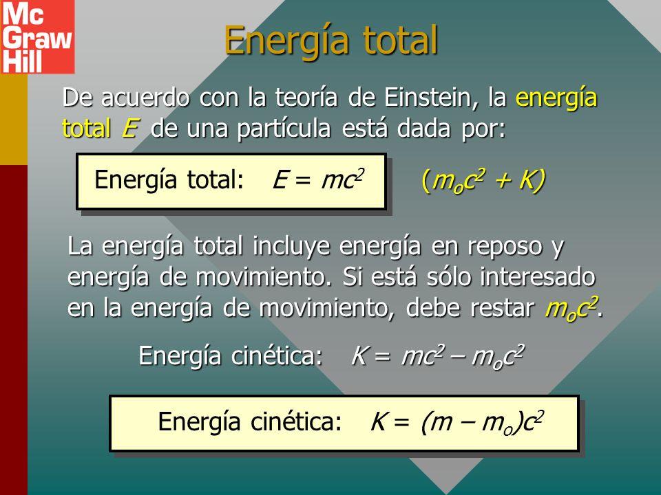 Energía totalDe acuerdo con la teoría de Einstein, la energía total E de una partícula está dada por: