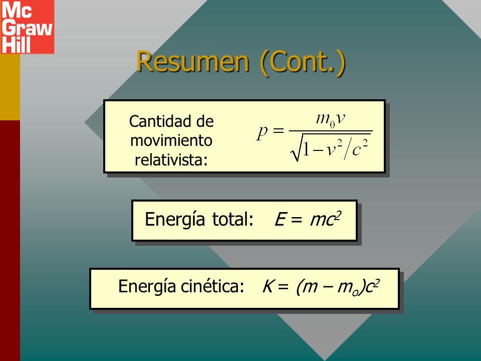 Resumen (Cont.) Energía total: E = mc2