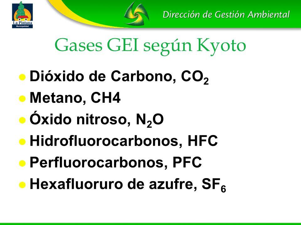 Gases GEI según Kyoto Dióxido de Carbono, CO2 Metano, CH4