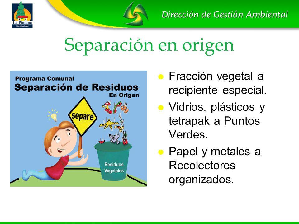 Separación en origen Fracción vegetal a recipiente especial.