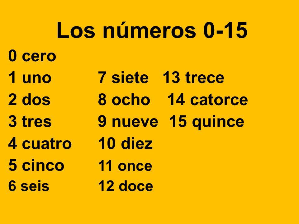 Los números 0-15 0 cero 1 uno 7 siete 13 trece 2 dos 8 ocho 14 catorce