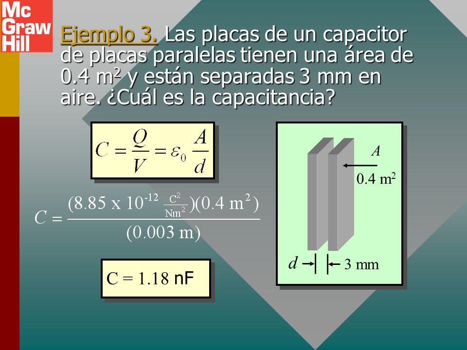 Ejemplo 3. Las placas de un capacitor de placas paralelas tienen una área de 0.4 m2 y están separadas 3 mm en aire. ¿Cuál es la capacitancia