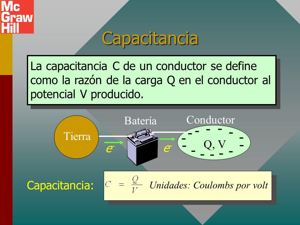 Capacitancia La capacitancia C de un conductor se define como la razón de la carga Q en el conductor al potencial V producido.
