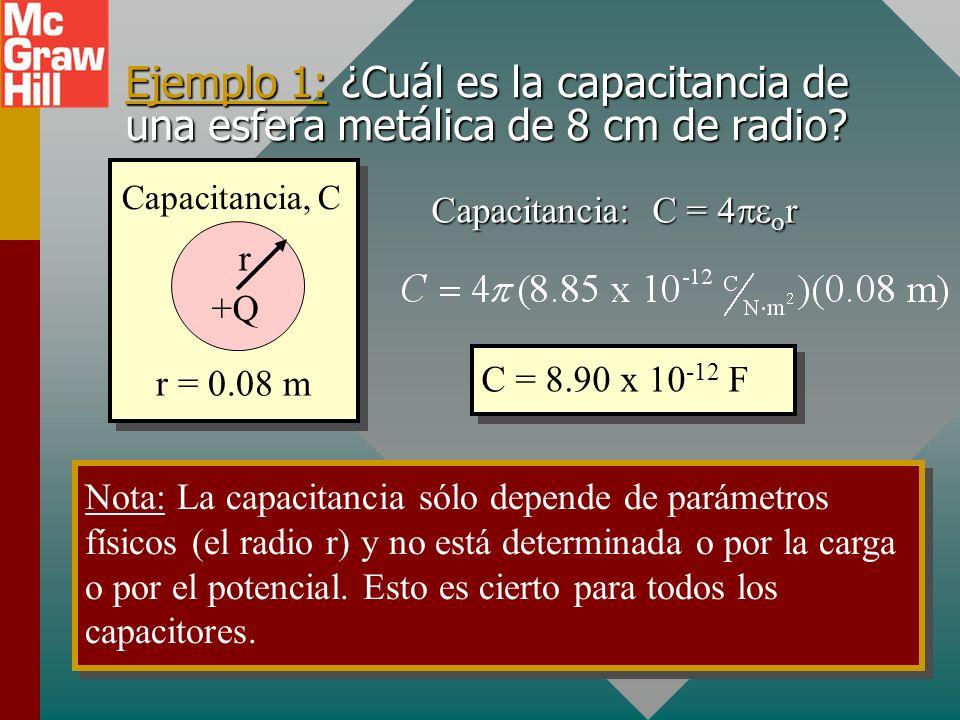 Ejemplo 1: ¿Cuál es la capacitancia de una esfera metálica de 8 cm de radio